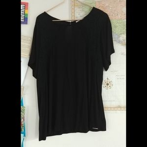 Michael Kors lacey trim black shirt